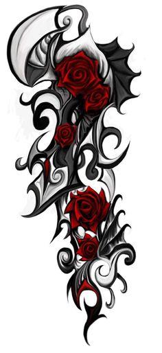 gothic rose tattoo designs | Mod Tatouage Avec Motif Rose Rouge Style Tribal