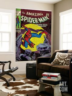 Marvel Comics Retro: The Amazing Spider-Man Comic Book Cover No.70, Wanted! (aged) Wall Mural at Art.com