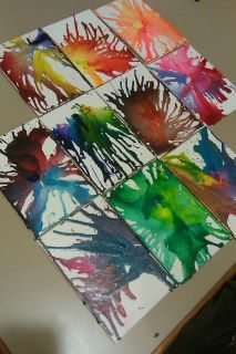 """DIY- crayons on 4""""x5"""" canvas squares- a mini take on the """"crayon melted with a  blowdryer"""" craft! broke crayons into 1/3"""" pieces and held them in place with a fork, then blowdried and tilted canvas. definitely a 2-person job!"""