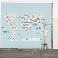 Painel mapa mundi azul claro Sandra Javera