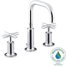KOHLER Purist 8 in. Widespread 2-Handle Bathroom Faucet in Polished Chrome with Low Gooseneck Spout