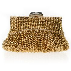 KOTUR Fino Metal Bead Snake Frame Clutch ($674) ❤ liked on Polyvore featuring bags, handbags, clutches, purses, accessories, brown hand bags, beaded clutches, clasp purse, hand bags and sparkly purses