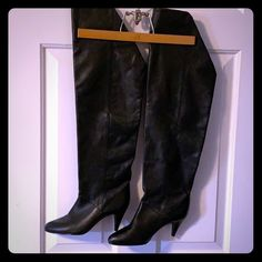 Nine West Shoes | Vintage Nine West Overtheknee Leather Boots | Poshmark Black Heel Boots, Heeled Boots, Vintage Boots, Nine West Shoes, Over The Knee Boots, Leather Boots, Heels, Sexy, Things To Sell