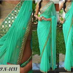 Saree - net with mirror and pearl work blouse - matti brocade Available with us Watsapp - 91 9930777376 Email - fashioncloset06@gmail.com