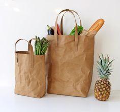 Kraft Paper bag washable paper bag shoulder bag by WarmGreyCompany