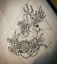 "49 Likes, 4 Comments - #AshleyKnightTattoos ⚜ (@geminilemonlime) on Instagram: ""Working on a design for a pal, been wanting to tattoo a Jackalope for the longest!! I used a…"""