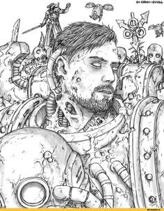 Warhammer 40000, warhammer40000, warhammer40k, warhammer 40k, Wahoo, Forty-Thousand, Fandom, Gray-Skull, artist, Chaos (Wh 40000), plague marine, Nurgle, Chaos Space Marine, Death Guard, Wh Sandbox, Wh Other, drew, drew himself, sfotkal himself, wrote himself, invented himself, translated himself