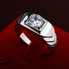 High Quality Trendy Ring for Men Cubic Zirconia Stone Crystal Man Ring Silver Color #Affiliate