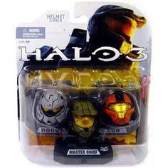 SET 3 ROGUE (Grey) MASTER CHIEF (Green) CQB (Orange) Halo 3 Helmets 3 Pack McFarlane