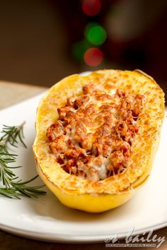Spaghetti Squash Boats  1/19/2013:  very yummy! Wish we would have gotten a smaller squash. Got three meals out of my half!!