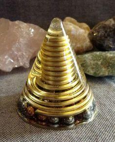 Orgonite Cone w Gold Wire Wrapped Quartz Crystal by Macho Orgone | eBay Orgonite www.facebook.com/OrgoneEnergy