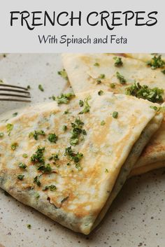 Classic French crepes, stuffed with spinach, onion, and feta cheese.