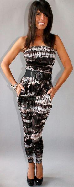 Sexy Strapless Tie Dye Harem Jumpsuit Soft Jersey Knit Ruche Wide Belt Boho 70S | eBay