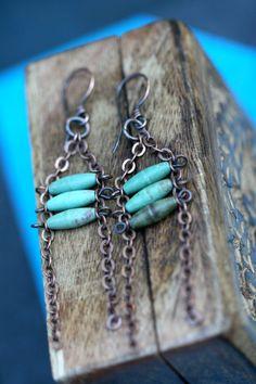 Tassel Beaded Chain Catterpilar earrings n3- Bohemian . Rustic Jewelry . Green . Cylinder .  Artisan earrings . Chain . Green in Handmade (25.00 USD) by Tribalis - handmade - jewelry - jewellery - artisan - etsy