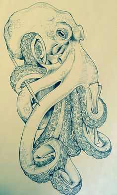 Final illustration complete Más Holy hell, I've found my octopus tattoo! Octopus Drawing, Octopus Tattoo Design, Octopus Tattoos, Octopus Art, Octopus Sketch, Squid Drawing, Ocean Tattoos, Body Art Tattoos, Tattoo Art