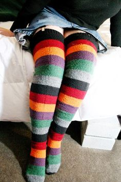 Very tall socks  Striped, solid, or spotted socks like these will keep your legs warm whatever the weather. These very tall socks are knit in affordable acrylic, but if you've got a stash of wool in a similar gauge, go right ahead! Do wear them with garters. It's the thing. Let winter do its worst -- you can keep your skirts!