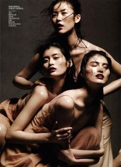 Vogue China May 2012 - Dancing in the Soul. Photographer Daniel Jackson captures the beauty of the three current chinese supermodels in this evanescent editorial: Liu Wen, Ming Xi and Sui He.