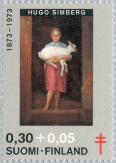 "1973: ""Girl with Lamb"", by Hugo Gerhard Simberg (1873-1917) (פינלנד) (Fight against TBC) Mi:FI 730,Sn:FI B197,Yt:FI 694,AFA:FI 737"