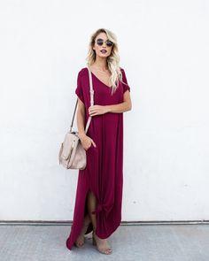 Weekender Pocketed Maxi Dress - Wine