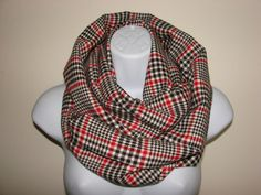 cream red black plaid infinity scarf  Flannel by OtiliaBoutique