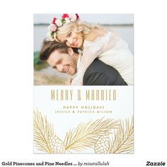 Gold Pinecones and Pine Needles Holiday Photo Card Modern and stylish holiday photo card perfect for newlyweds. This flat card features gold pinecones and pine needles. Matching stickers, stamps, and labels are available. There's no gold foil. Christmas Photo Cards, Christmas Photos, Holiday Cards, Christmas Stuff, Christmas Eve, Invitation Card Design, Invitation Cards, Invites, Wedding Invitations