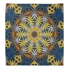 Blue and Yellow Fractal Daisies Tile 217 Bandanas