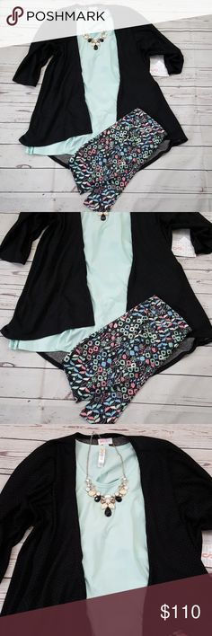 LuLaRoe Lindsay cardigan perfect t OS Leggings Brand new LULAROE outfit  Small Lindsay cardigan in black with teeny tiny dots in white Small Perfect T in solid aqua  OS leggings LuLaRoe Pants Leggings