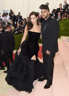 """Abel Tesfaye """"The Weeknd"""" and Bella Hadid at the Met Gala 2016. #Givenchy"""