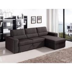 1100 - Fabric Brown Sectional Sofa Bed