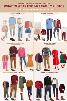 family photo outfits What to wear for fall family photos in 2019 Fall Family Picture Outfits, Family Picture Colors, Family Portrait Outfits, Family Photos What To Wear, Winter Family Photos, Large Family Photos, Fall Family Portraits, Fall Outfits, Family Pics