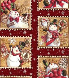 Holiday Inspirations Fabric-Snowman Stamps Patch, , hi-res Online Craft Store, Craft Stores, Go Diego Go, Dora The Explorer, Christmas Fabric, Jungle Animals, Joann Fabrics, Gingerbread Man, Needle And Thread