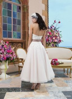 2015 Tea Length Wedding Dress Lace Short Strapless 50S Applique Bridal Dress With Satin Belt Beach Wedding Gown Dress Real-Image