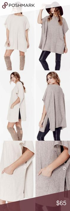 Slip Front Pockets with Side Button Closure Warm and cozy short sleeve poncho with side button details and front slip pockets.  45% Viscose, 28% Nylon, 27% Polyester  Color - Oatmeal & Mushroom  Size - One Size Love Stitch Sweaters Shrugs & Ponchos