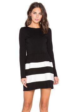 Bobi BLACK Mixed Knit Long Sleeve Flare Dress in Black & White | REVOLVE