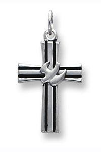 Sterling Silver Dove Cross Pendant with Black Enamel $34.00 http://www.celebrateyourfaith.com/Sterling-Silver-Dove-Cross-Pendant-with-Black-Enamel-P9170C907.cfm
