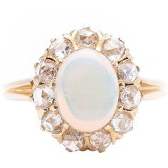 Preowned Victorian Opal Rose Cut Diamond Ring ($1,595) ❤ liked on Polyvore featuring jewelry, rings, fashion rings, red, 14k ring, victorian jewelry, 14 karat gold ring, pre owned rings and red ring