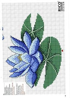 Solo Patrones Punto Cruz (pág. 207) | Aprender manualidades es facilisimo.com Small Cross Stitch, Cross Stitch Flowers, Cross Stitch Charts, Cross Stitch Embroidery, Cross Stitch Baby, Cross Stitching, Blue Lotus Flower, Pillowcase Pattern, Crochet Flowers