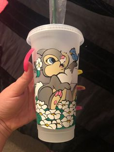 Thumper Starbucks Venti Reusable plastic cup Made with permanent vinyl Can add name Can make other characters upon request Tumblers made as ordered Starbucks Cup Gift, Starbucks Cup Design, Starbucks Crafts, Disney Starbucks, Personalized Starbucks Cup, Custom Starbucks Cup, Personalized Cups, Starbucks Venti, Coffee Cup Art