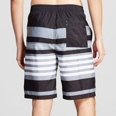 Men's Stripe Swim Trunks Grey Xxxl - Merona, Black