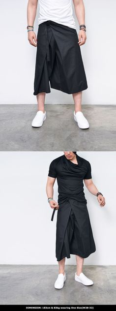Super Stylish Wrap Skirt Pants-Pants 224 - GUYLOOK