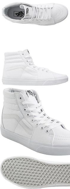 Men Shoes: New Vans Mens Sk8 Hi Shoe Canvas Leather White BUY IT NOW ONLY: $59.95 #priceabateMenShoes OR #priceabate