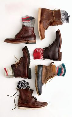 A selection of leather boots and socks