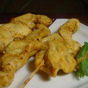chicken satay on lemongrass spears with peanut sauce more lemongrass ...
