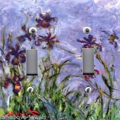 Light-Switch-Plate-Outlet-Covers-MONET-FLORAL-IRISES-IRIS-01-Free-Shipping