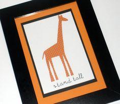Framed Orange Giraffe Cut Paper Art