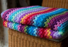 Granny Striped Blanket Folded