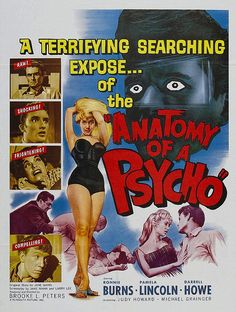 1950s Vintage Movie 1961 Poster ANATOMY OF A PSYCHO
