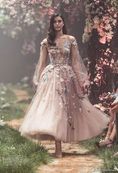 paolo sebastian spring 2018 couture long bishop sleeves illusion jewel sweetheart neck full embellishment romantic blush color tea length short wedding dress (18) mv -- Paolo Sebastian Spring 2018 Couture Collection