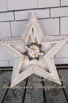 DIY   New Star Design from Vintage Bookpages    houserevivals.blogspot