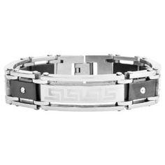 Inox Jewelry Men's Stainless Steel/ IP Black Bracelet with Greek Key Pattern